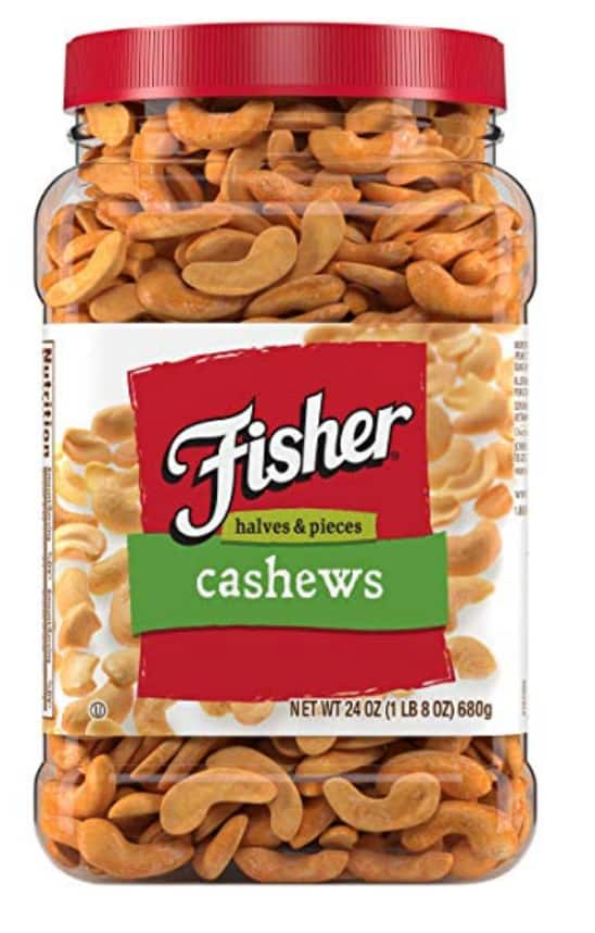 FISHER Snack Cashew Halves Pieces, 24 oz Canister - $7.79 with subscribe and save