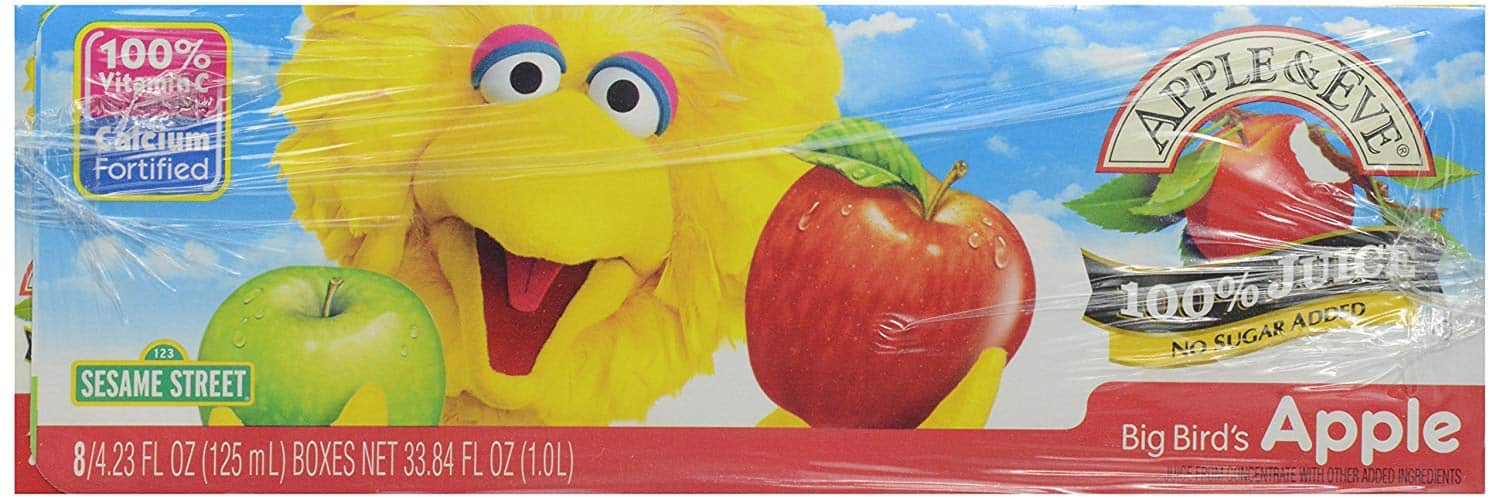 Apple & Eve 100% Juice Big Bird's Apple, 4.23 Fl Oz, Pack of 8 for $5.63 at Amazon