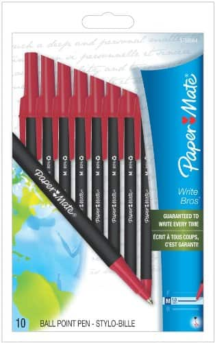 Papermate Write Bros Recycled Ballpoint Pen - 10 pack - Red - $1.87 + FS with Prime at Amazon