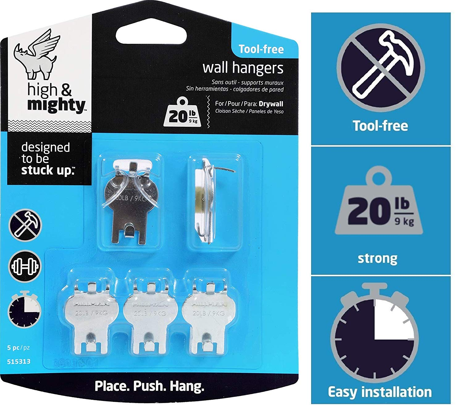 HIGH & MIGHTY 515313 Tool Free Picture Hanging Kit, 5 Pieces, 20LB Limit - $2.71 at Amazon