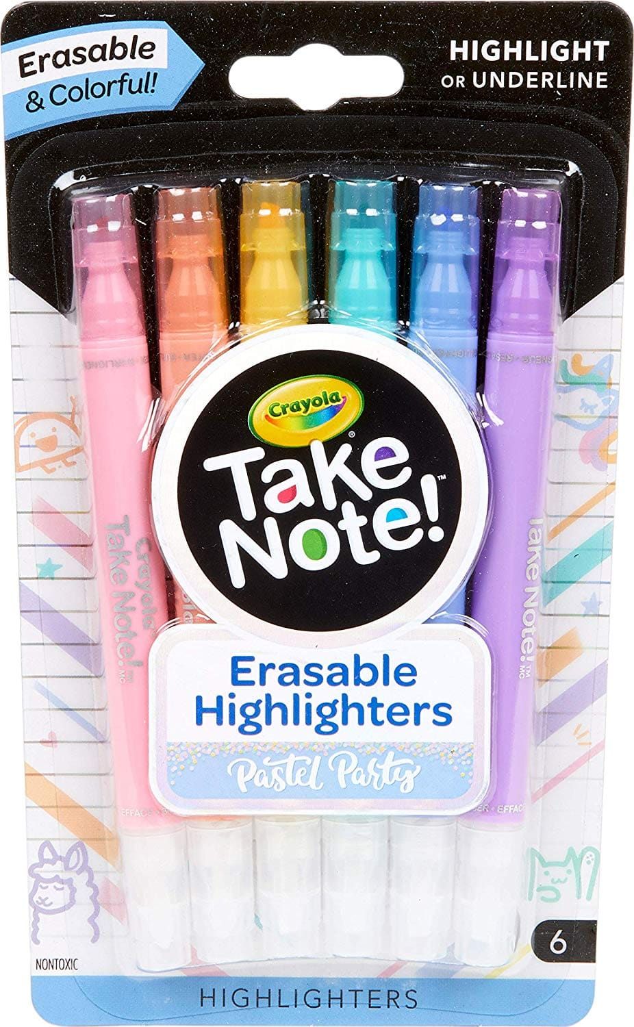 Crayola Take Note! Dual Ended Highlighters Pastel Party, Multi - $3.00 at Amazon + free shipping with prime