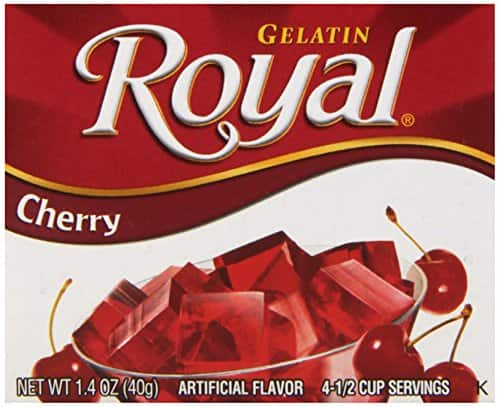 12 boxes of Royal Gelatin, Fat Free Dessert Mix, Cherry (1.4 oz) - $3.04 at Amazon + free shipping with prime (or less with subscribe and save)