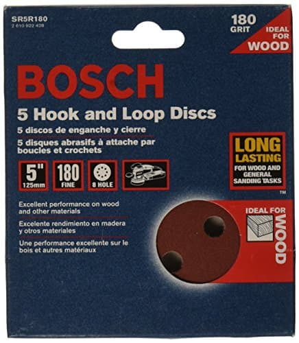 Bosch 5-Piece 180 Grit 5-inch 8 Hole Hook-And-Loop Sanding Discs - $2.99 at Amazon + FS with Prime or less with subscribe and save