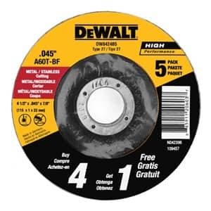 5-pack DEWALT All-Purpose Cutting Wheel 4.5-in. - $2.14 w/ 5% S&S, $1.91 at Amazon after 15% subscribe and save