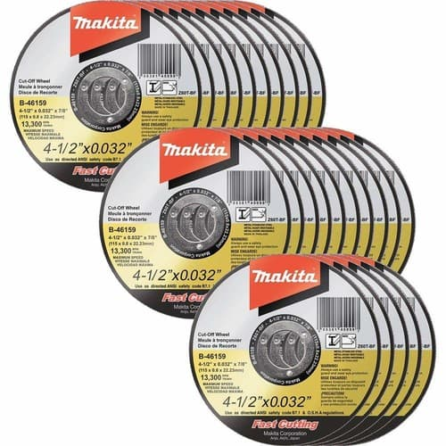 25 pack Makita 4.5 x .032 x 7/8 in. Ultra Thin Cut-Off Wheel, Stainless - $15.75 at Amazon + FS with Prime