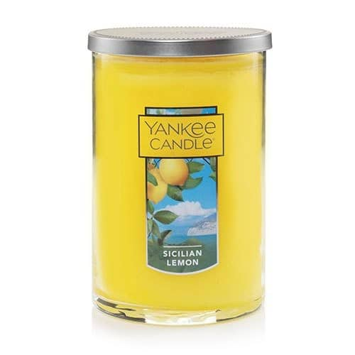 Yankee Candle Large Jar 2-Wick Sicillian Lemon Scented Tumbler Premium Grade Candle Wax with up to 110 Hour Burn time - $14.88 + FS at Amazon