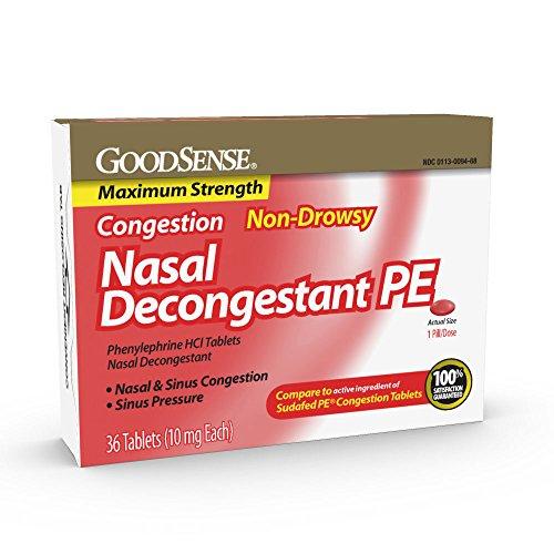 GoodSense Maximum Strength Nasal Decongestant PE, Phenylephrine HCl, 10 mg tablets, 36 Count - $1.69 AC at Amazon