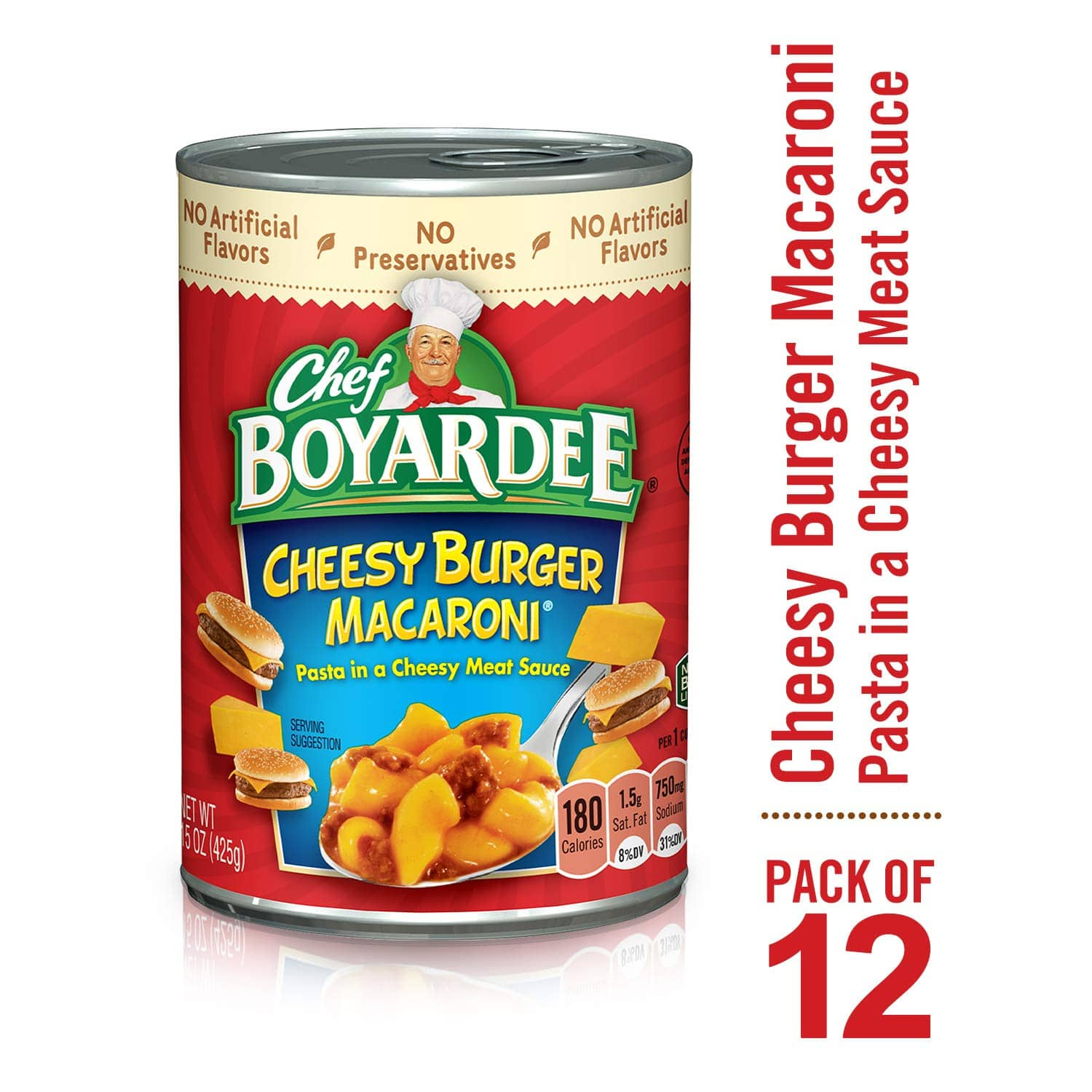 Chef Boyardee Cheesy Burger Macaroni, 15 oz, 12 Pack- $11.17 at Amazon + FS with Prime (or less with subscribe and save)