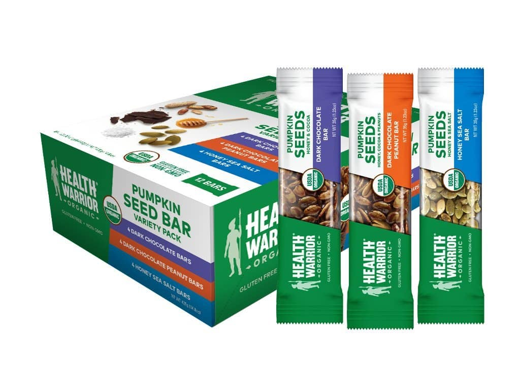 Health Warrior Organic Pumpkin Seed Protein Bars, Variety Pack, 8g Plant Protein, Gluten Free, Certified Organic, 12 Count- $8.09 AC at Amazon with subscribe and save (or less)