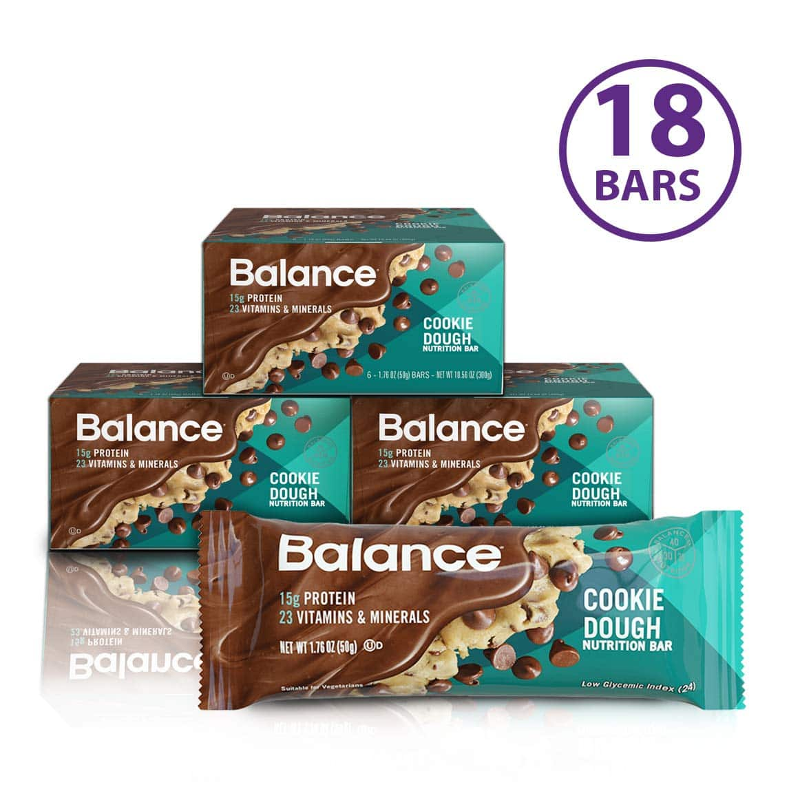 18 count - Balance Bar, Healthy Protein Snacks, Cookie Dough - $12.74 AC at Amazon w/ subscribe and save