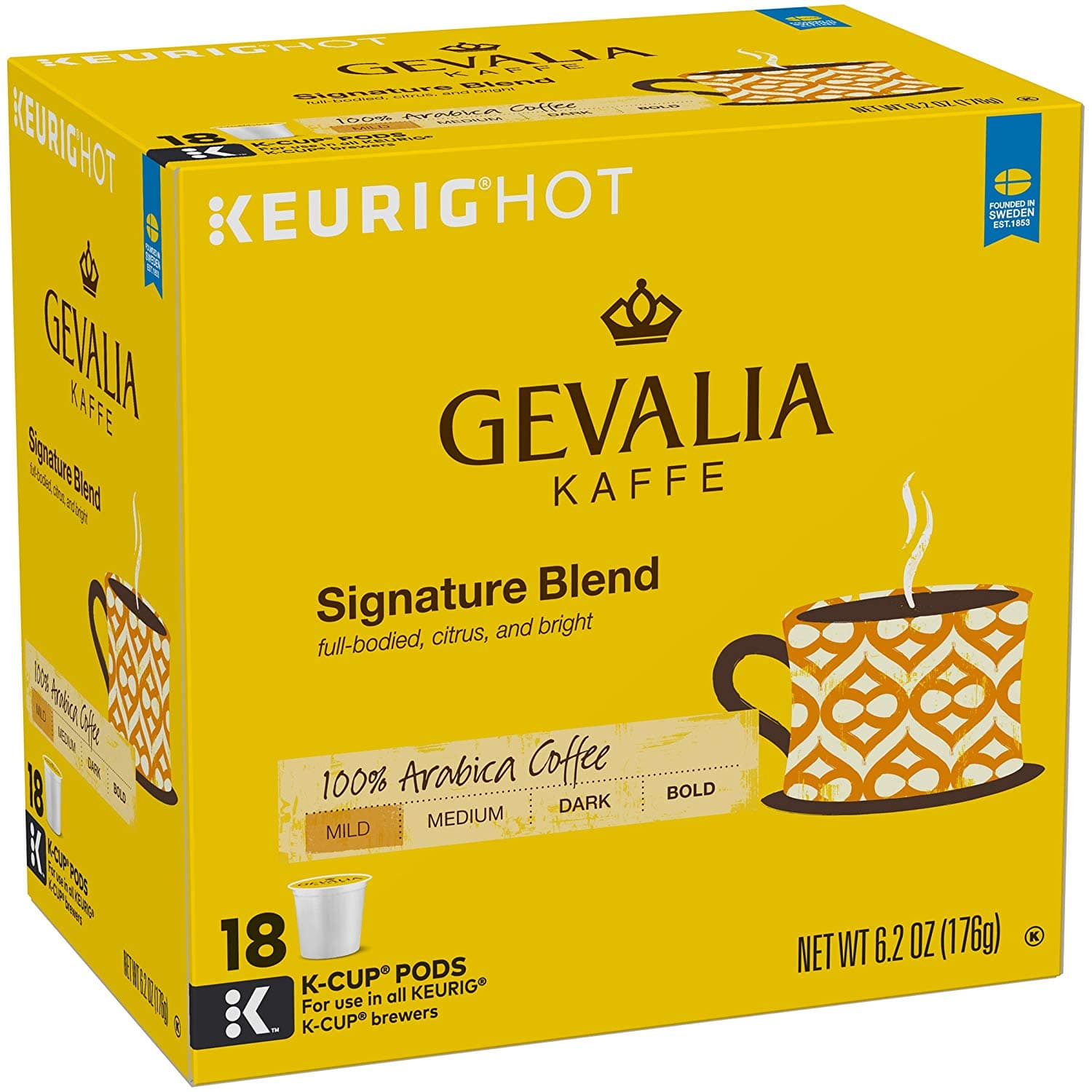 Gevalia Signature Blend Coffee, Mild Roast, K-Cup Pods, 18 Count - $5.78 or less with subscribe and save at Amazon