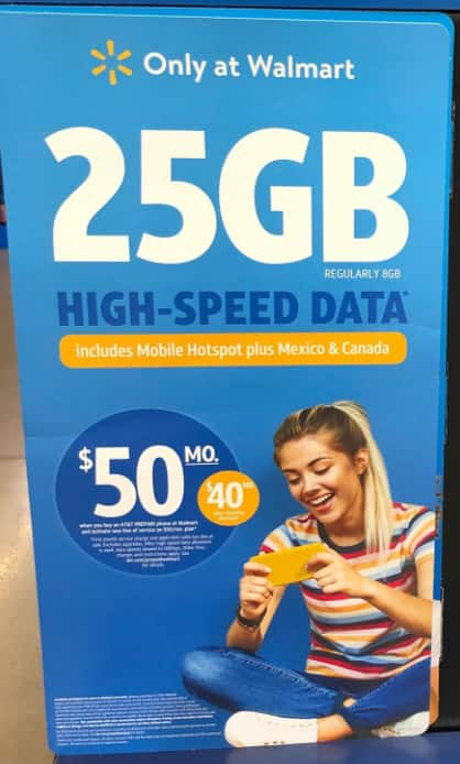[Walmart US]AT&T 25gb + unlimited talk/text on prepaid for $40 USD - Canadian Usage