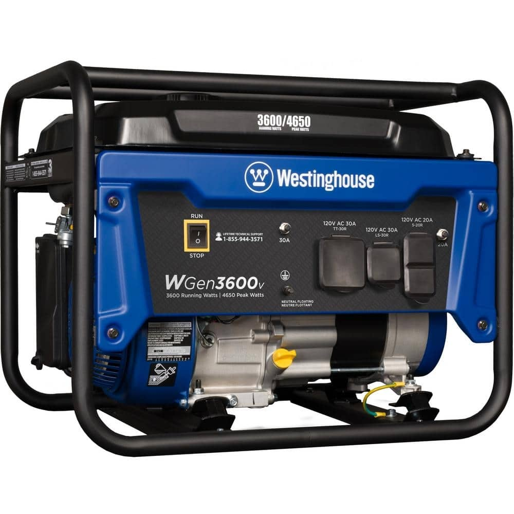 Westinghouse WGen3600V 4,650/3,600 Watt Gasoline Powered RV-Ready Portable Generator with Automatic Low Oil Shutdown-WGen3600v - $299