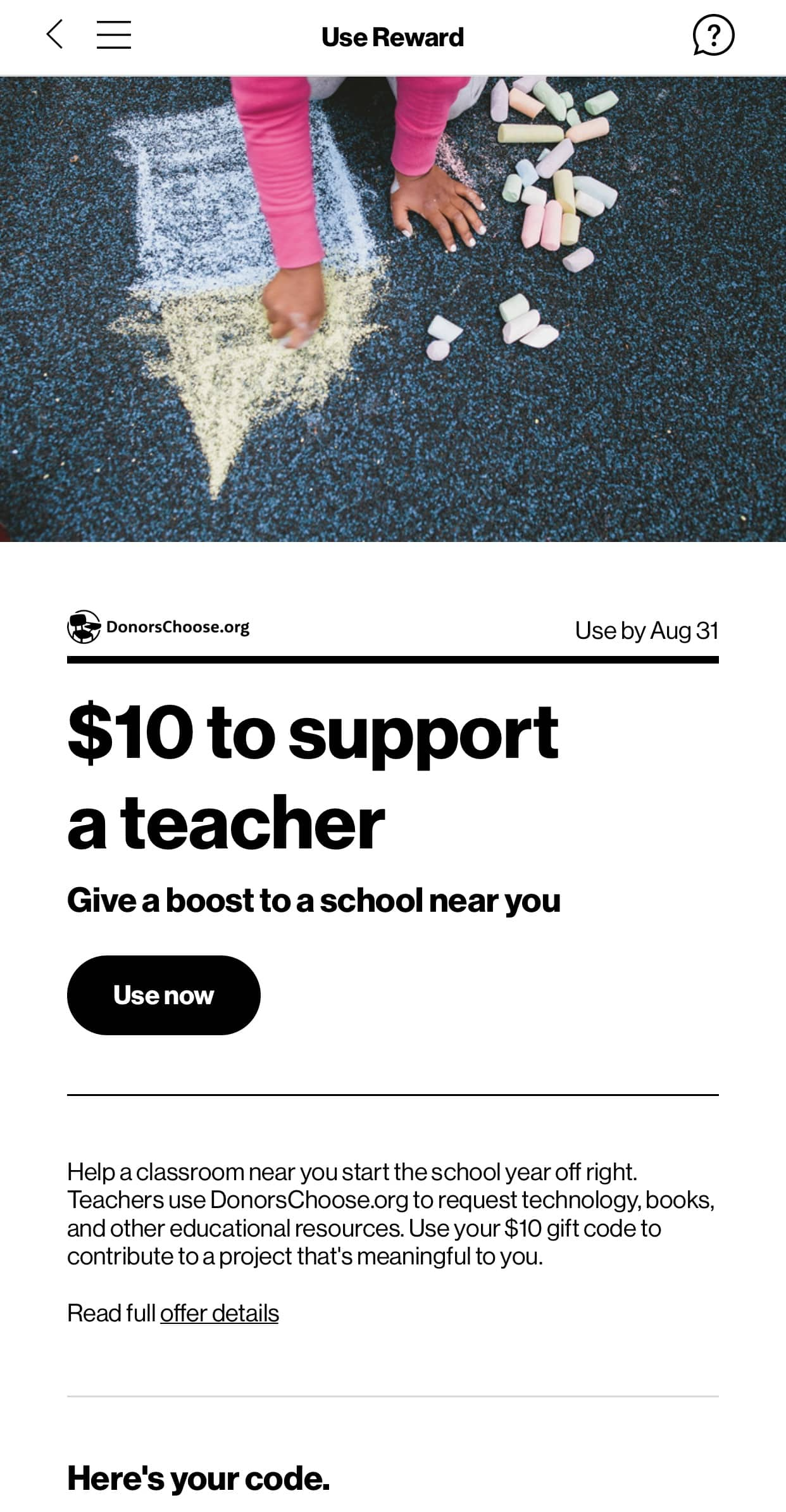 Verizon UP: Free $10 to support a teacher DonorsChoose.org