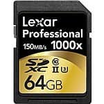 Lexar Professional 1000x 64GB SDXC UHS-II/U3 Card (Up to 150MB/s read) w/Image Rescue 5 Software LSD64GCRBNA1000 33.99