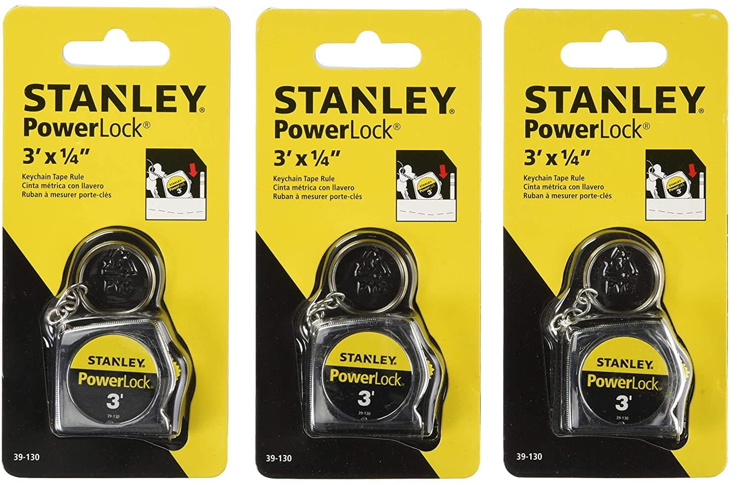 3 pack of Stanley of 3 ft PowerLock Key Tape Rule - Hand Tools for Keychain 39-130 $5.99