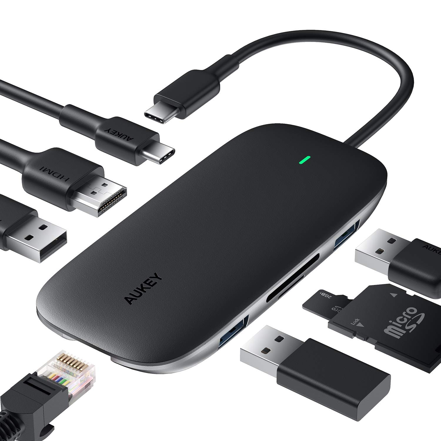 Aukey 8-in-1 USB-C hub with ethernet, hdmi and 100W Power delivery $29.06