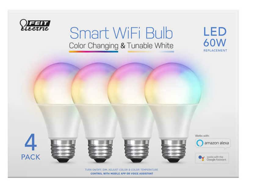 Feit Electric Wi-Fi Smart Bulbs, 4-pack $30, after $16 mfr savings + FS