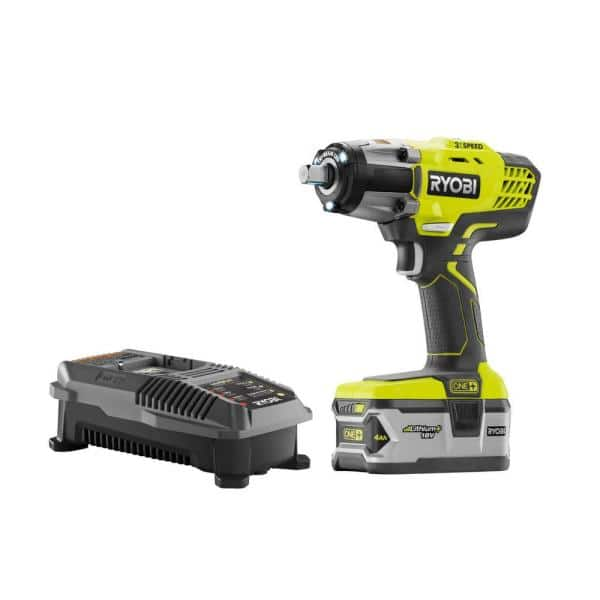 RYOBI 18-Volt ONE+ Cordless Impact Wrench Kit w/4.0 Ah Battery and Charger 70% off - Clearance/YMMV $41.7