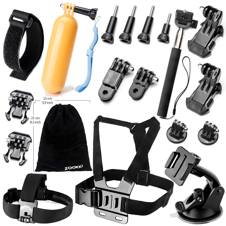 Zookki Camera Accessory Kit for GoPro Hero 4/ 3+/ 3/ 2/ 1/ SJ4000/ SJ5000/ SJ6000 (19 Items) - Price: $6.29  shipping w/ Amazon prime.