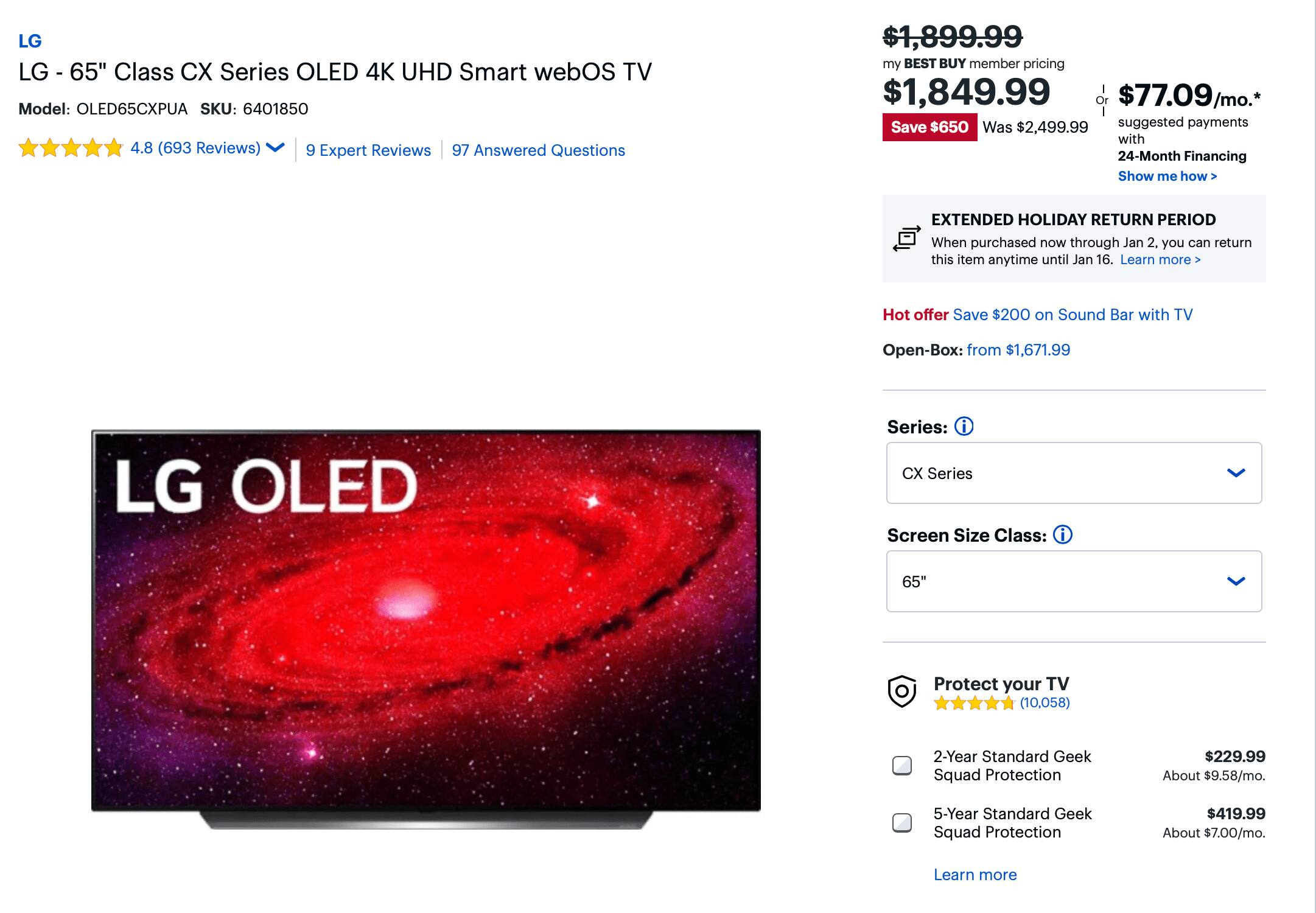 """LG CX 55"""" $1399 ($1349 if you sign in as a member) on BestBuy"""