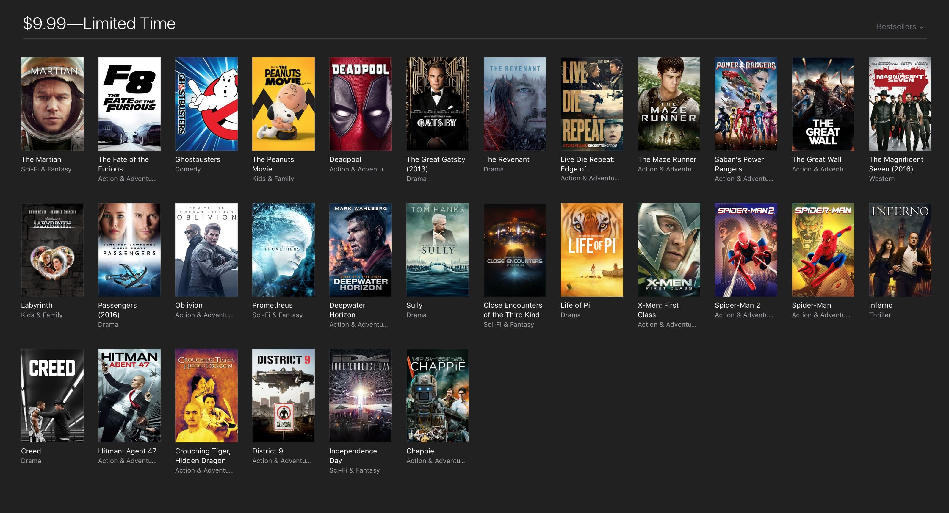 Apple 4K movies like The Martian/The Revenant (~30 movies) - only this weekend @ $9.99