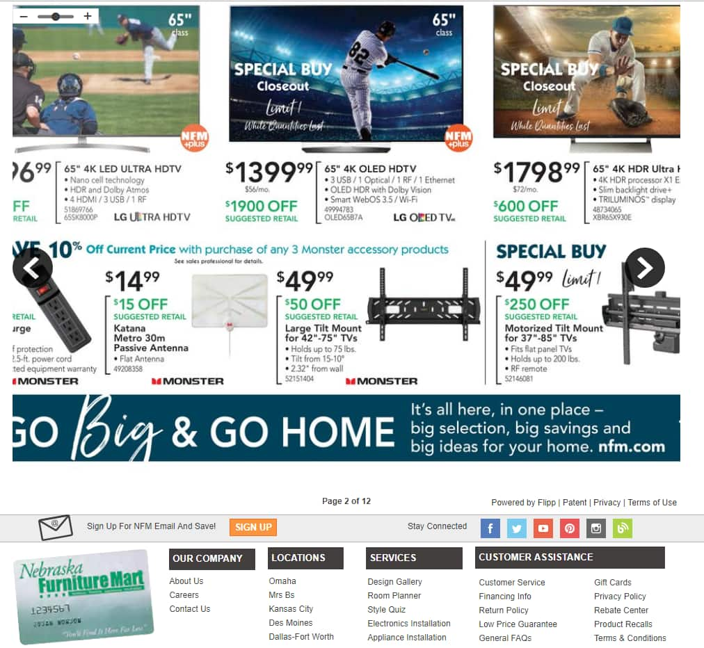 "Nebraska Furniture Mart IN STORE ONLY 65"" LG OLED65B7A 4K Smart OLED TV $1399.99+ tax B&M"