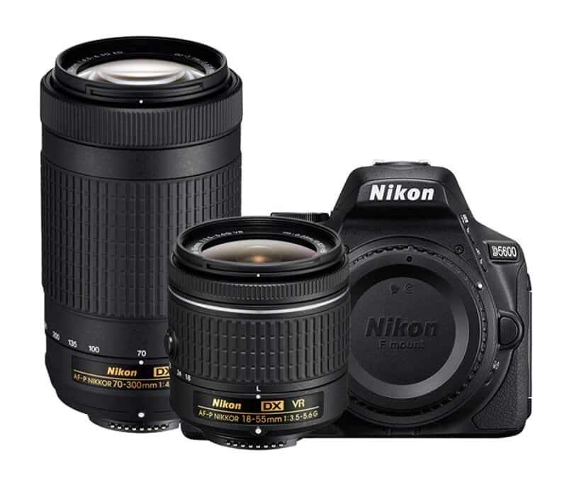 NEW Nikon D5600 + 18-55 and 70-300 kit $537 ac @Rakuten via Authorized dealers, NO tax on most states
