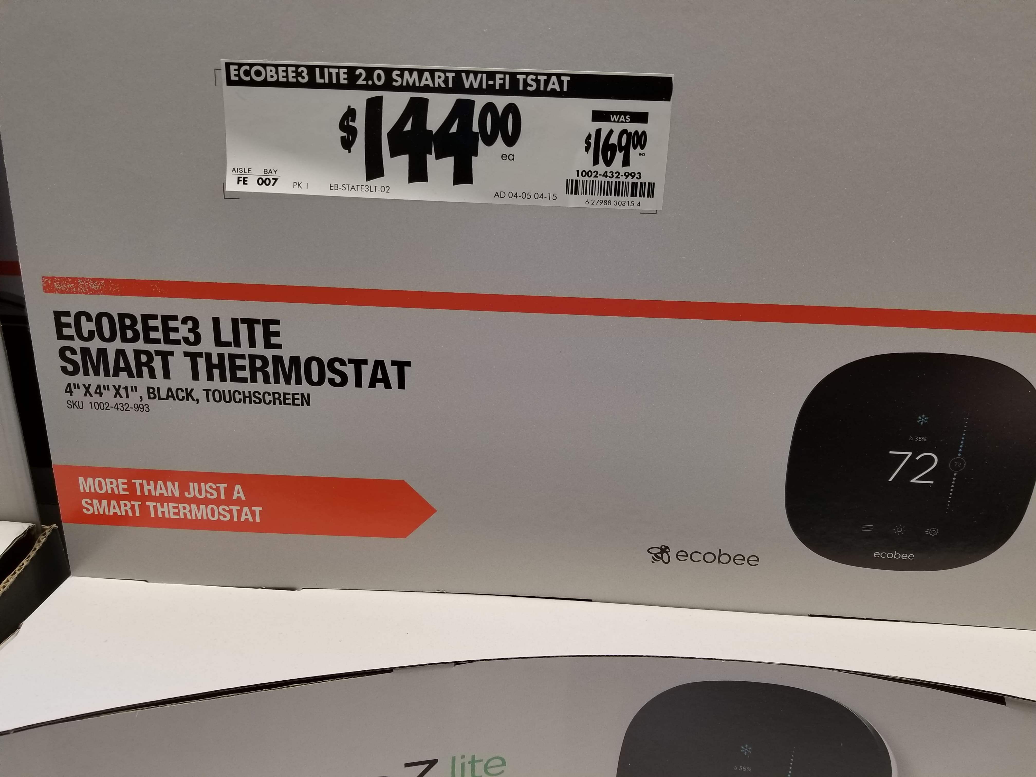 ecobee 3 lite - 7 Day Programmable Smart Thermostat $144