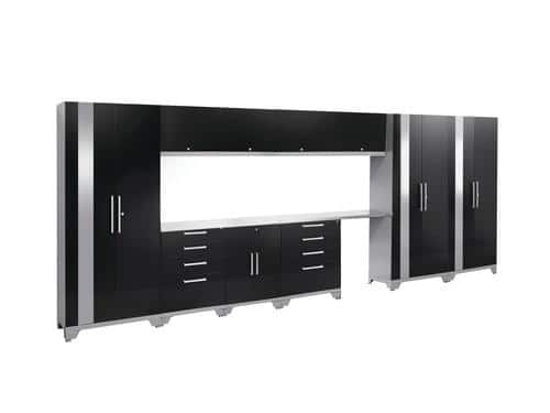 "NewAge Performance 2.0 186"" W x 72"" H x 18"" D Black 12-Piece Storage Cabinet System with Stainless Steel Worktop $177.71 after rebate"