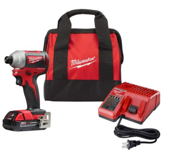 Milwaukee M18 Compact Brushless 1/4 in. Impact Driver Kit W/ (1) 2.0 Ah Battery, Charger & Tool Bag $99
