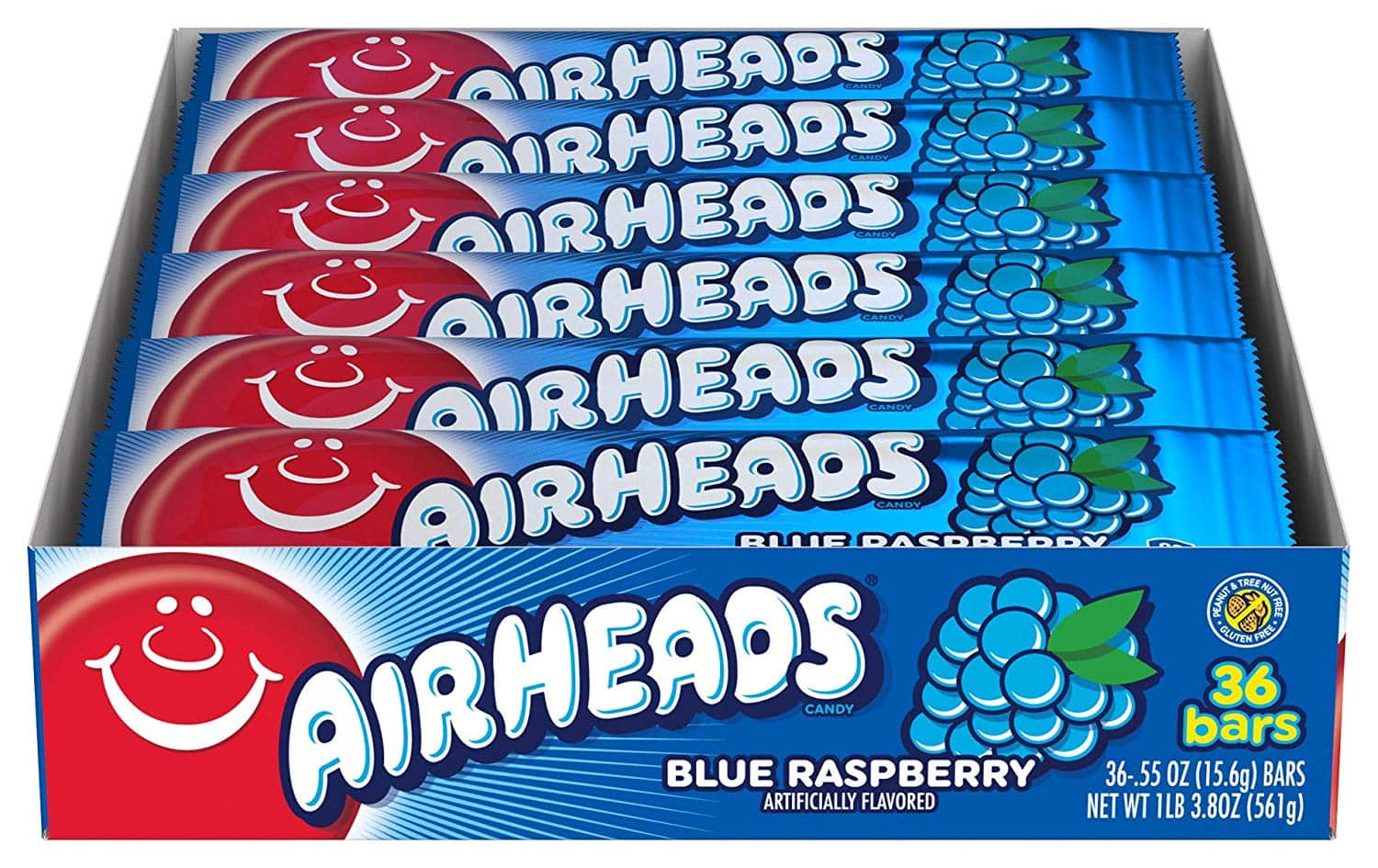 Airheads Candy, Individually Wrapped Bars, Blue Raspberry, 0.55 Ounce (Pack of 36) $5.26 AC & Subscribe and Save, Free shipping