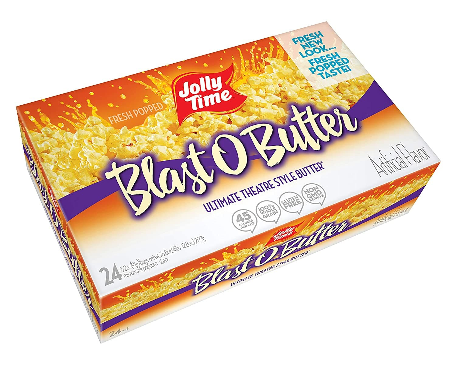 JOLLY TIME Blast O Butter Movie Theater Style Microwave Popcorn with Extra Buttery Flavor, Palm Oil, Salt and Non GMO Kernels ,3.2 Oz,Pack of 24 as low as $5.92 with FS $6.96