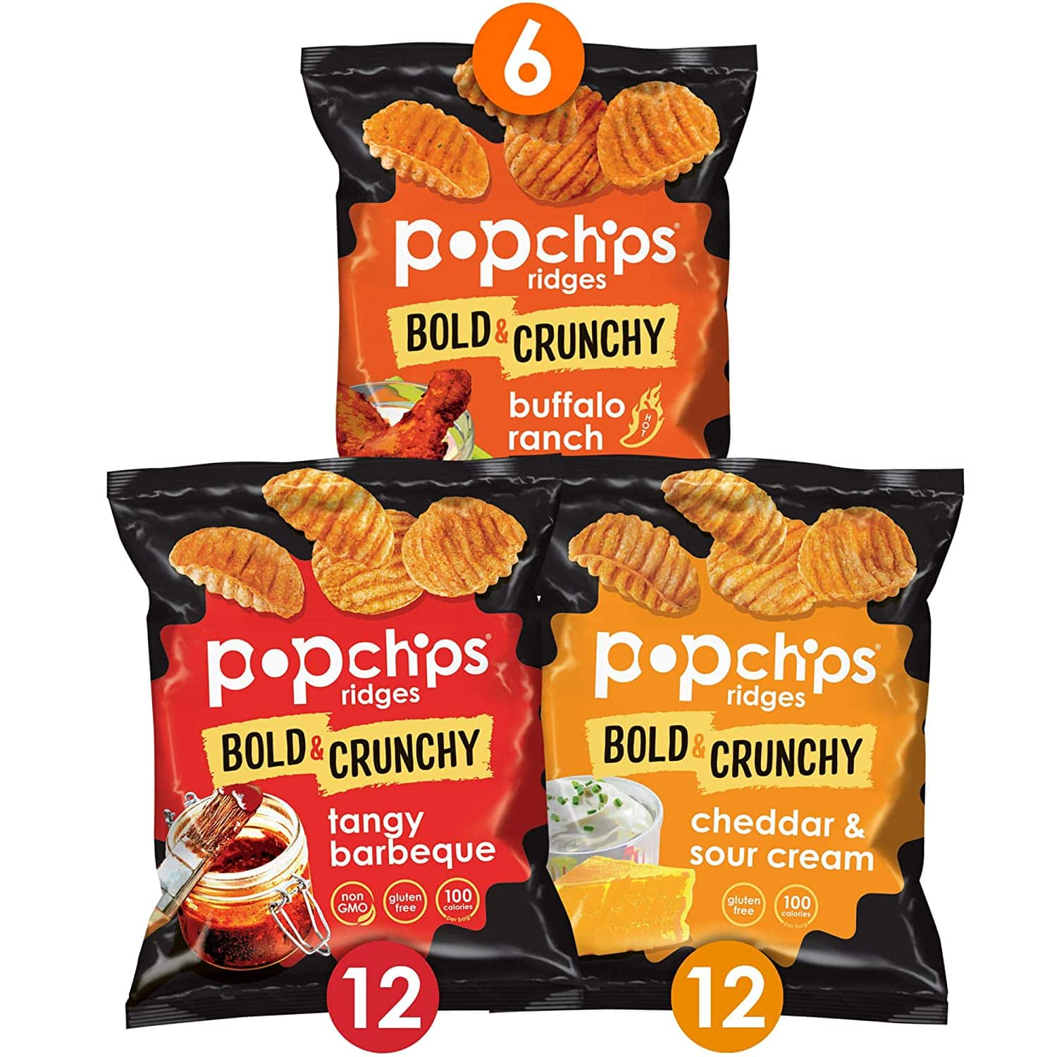 Popchips Ridges Potato Chips Variety Pack Single Serve 0.8 oz Bags (Pack of 30) 3 Flavors $8.82 w Free Ship w S&S $7.5