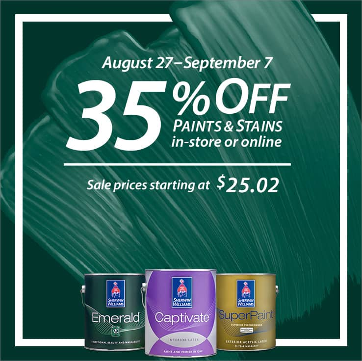 Sherwin Williams: All Paint & Stains In-store and Online 35% Off (Valid from 08/27/2020 - 09/07/2020)