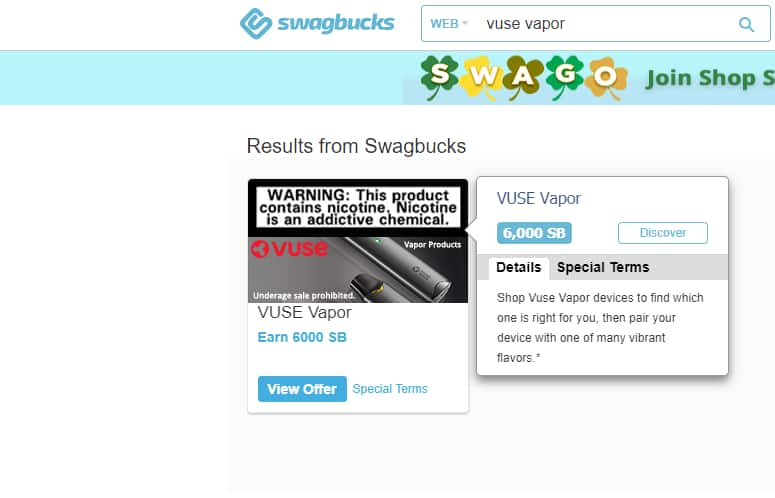 Swagbucks (Vuse Vapor) - $2 for 6,000 Swagbucks - Vuse Vapor