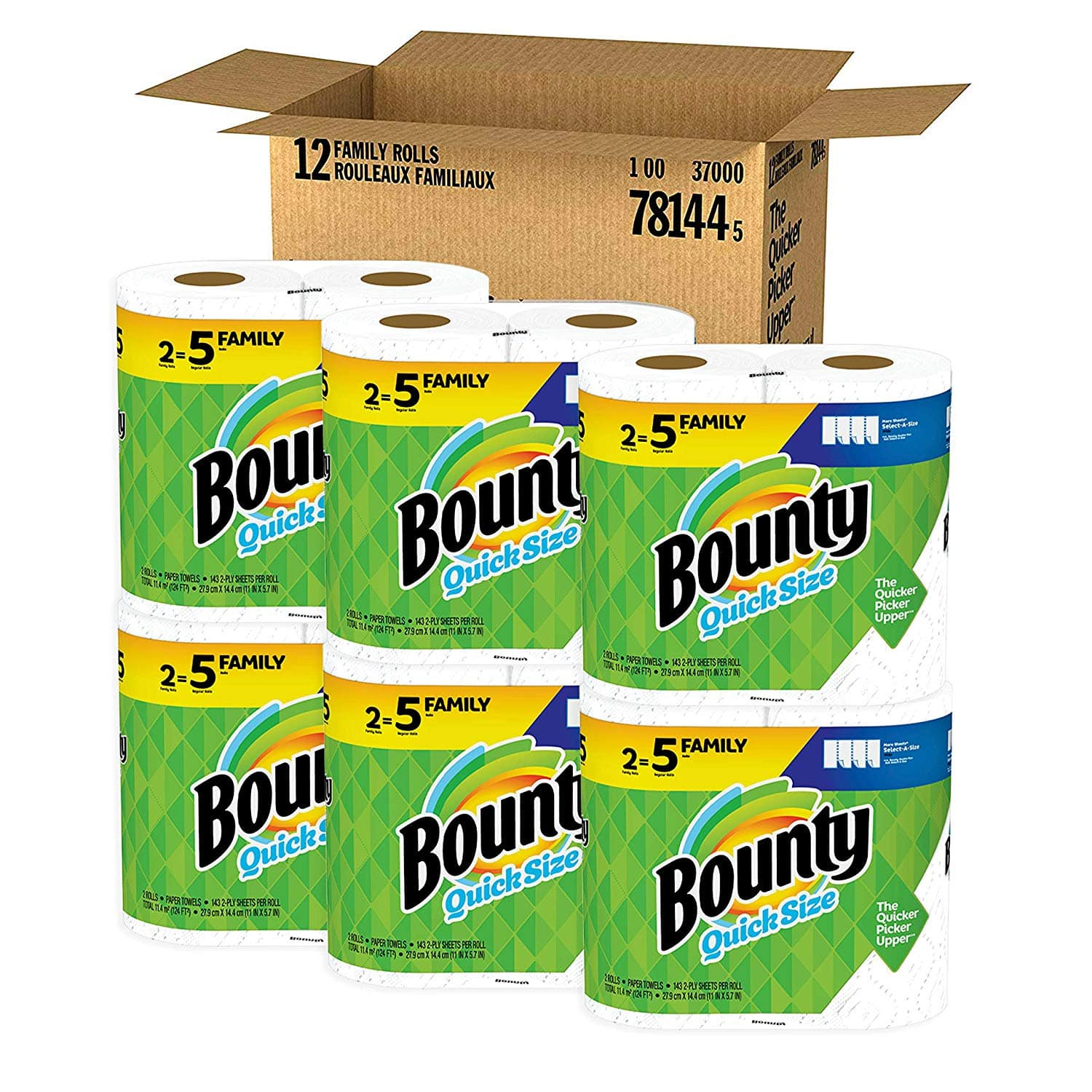 Bounty Quick-Size Paper Towels, White, Family Rolls, 12 Count (Equal to 30 Regular Rolls) Amazon Warehouse $16.34