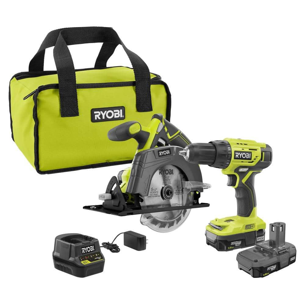 B&M only (YMMV) 18-Volt ONE+ Lithium-Ion Cordless 2-Tool Combo Kit w/ Drill/Driver, Circular Saw, (2) 1.5 Ah Batteries, Charger, and Bag $99