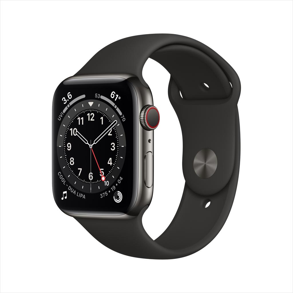 Apple Watch Series 6 GPS + Cellular, 44mm Graphite Stainless Steel Case with Black Sport Band - Regular - Walmart.com - $518.50