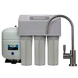 $99.99 Austin Springs 5-Stage Reverse Osmosis Drinking Water Filter System with Brushed Nickel Faucet, 75 GPD with bonus free filter pack.