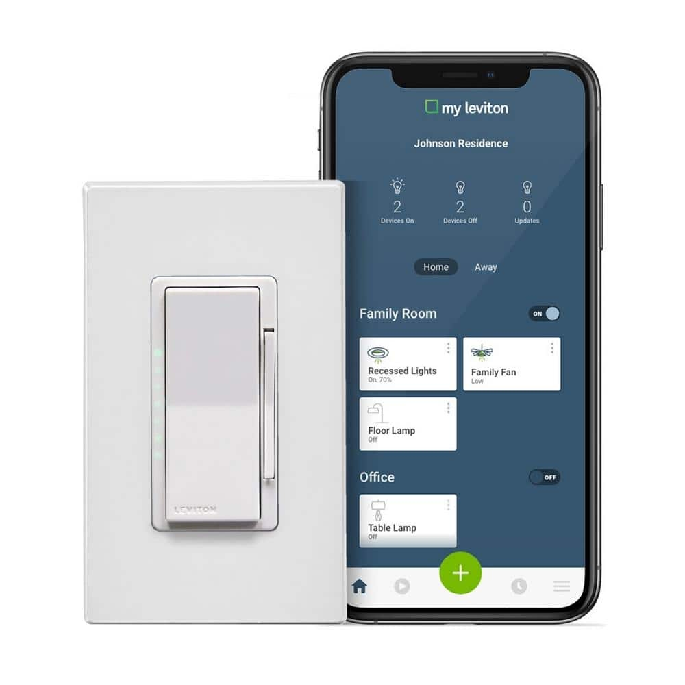 YMMV Leviton Decora Smart Wi-Fi 600-Watt Incandescent/300-Watt LED Dimmer No Hub Required Works with Alexa, Google Assistant-R02-DW6HD-2RW