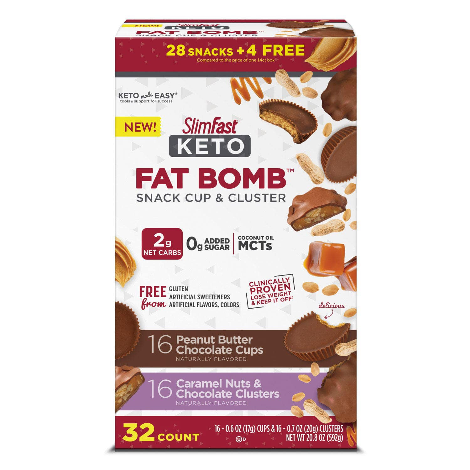 SlimFast Keto Fat Bomb, Peanut Butter Cup and Caramel Nut Clusters, Variety Pack (32 ct.) $15.87