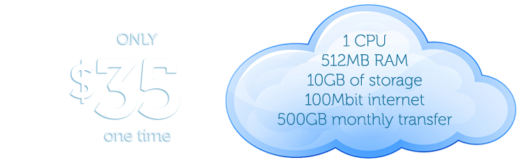 Linux Hosting---CloudatCost launch offer - Buy your own Cloud Server for $35 ONE TIME COST  (Other plans avaiable) 1CPU, 512MB RAM, 10GB storage 500gb network usage, 1 IP