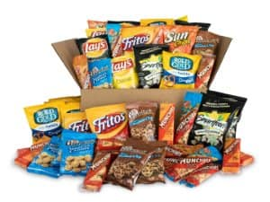 50-count, Sweet & Salty Snack Box, Variety of Cookies, Crackers, Chips & Nuts Care Package $14.73 (5% S&S) or $12.79 (15% S&S) AC at Amazon