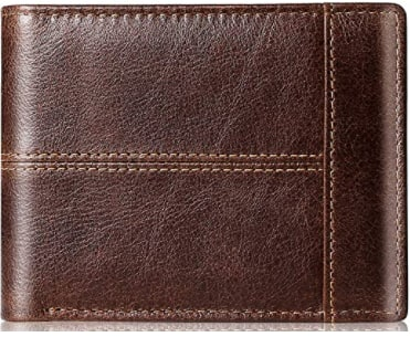 Genuine Leather Men's Bi-folding RFID block Wallet $9.89