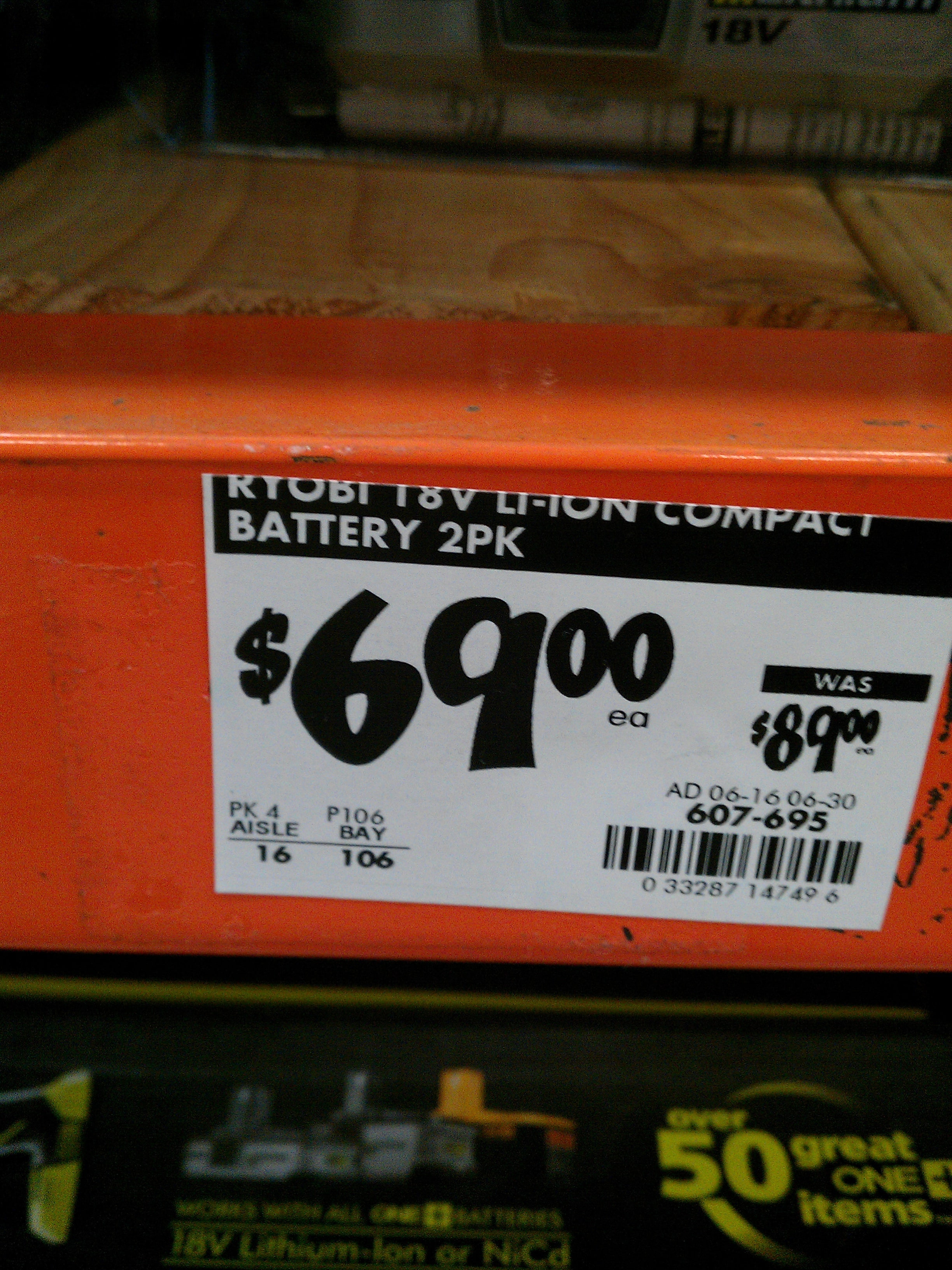 18V Ryobi ONE+ Lithium Ion Battery 2 pack $69 @ Home Depot B&M