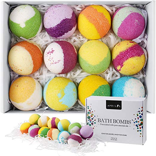 Aprilis 12-Pack Bath Bombs Gift Set, Natural Vegan Bath Bomb Kit w/ Organic Essential Oil - $10.99 PRIME FSSS