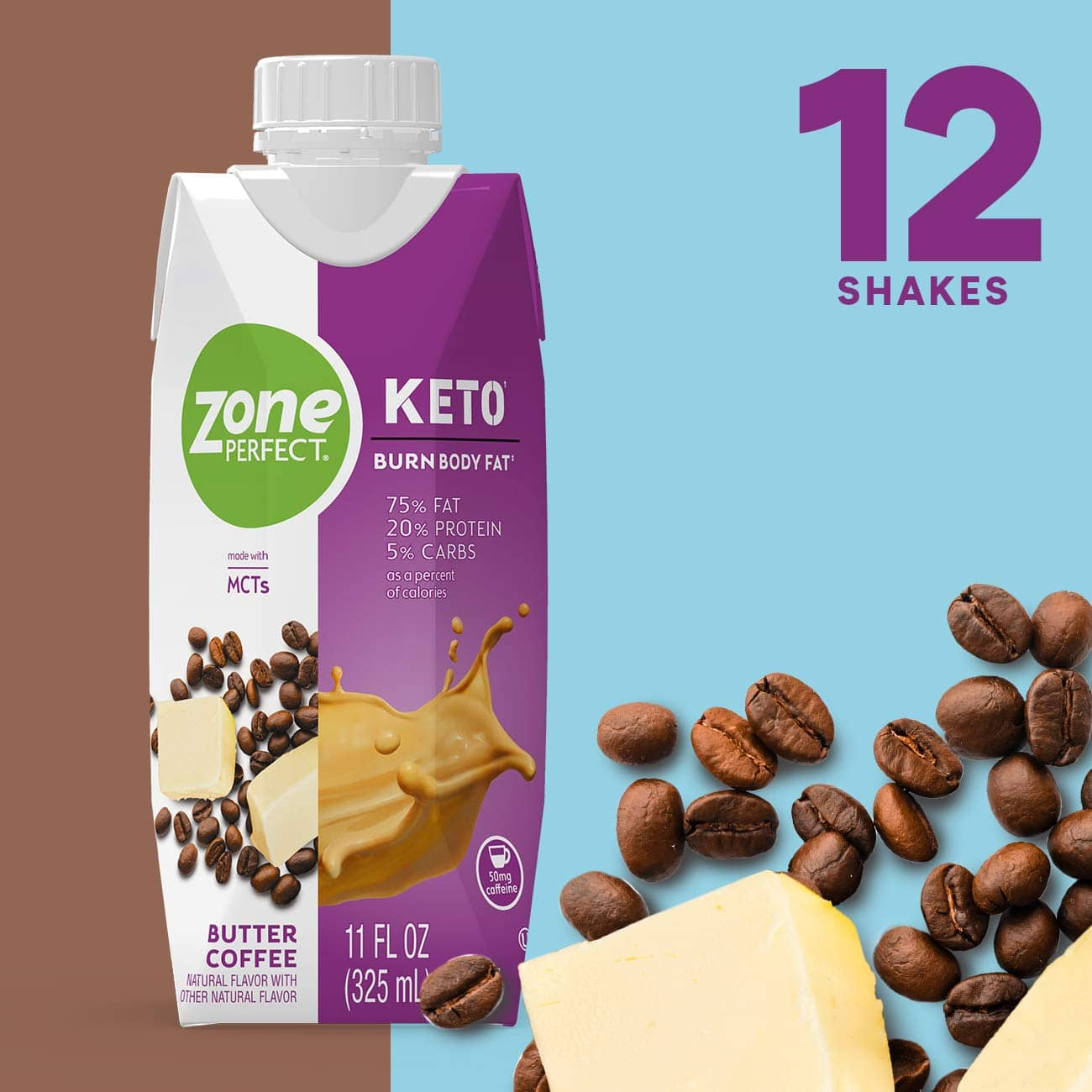 ZonePerfect Keto Shake, Butter Coffee, True Keto Macros To Burn Body Fat, Made With MCTs, 11 fl oz, 12 Count: As low as $17.80 w/S&S