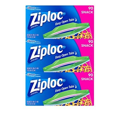 Ziploc Snack Bags, 270 Count @ Amazon $6.50 with 5% S&S or $5.82 with 15% S&S