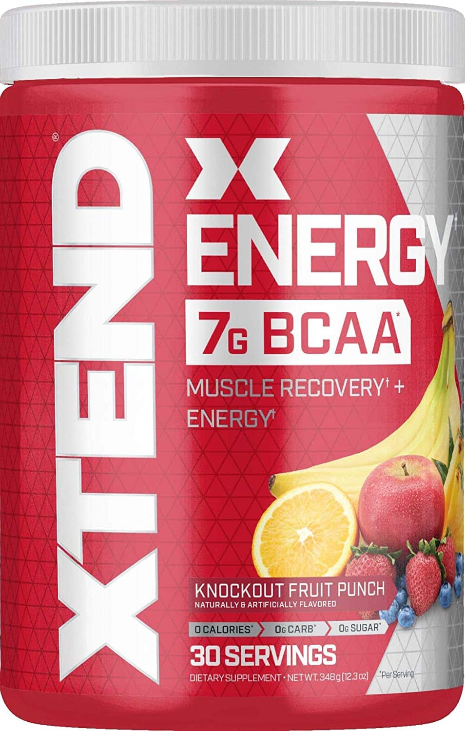 XTEND Energy BCAA Powder Knockout Fruit Punch - 125mg Caffeine + Sugar Free Pre Workout Muscle Recovery Drink with Amino Acids - 7g BCAAs for Men & Women - 30 Servings $14.69